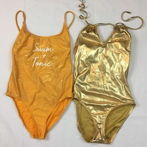 Lot of two metallic gold one piece swimsuits M